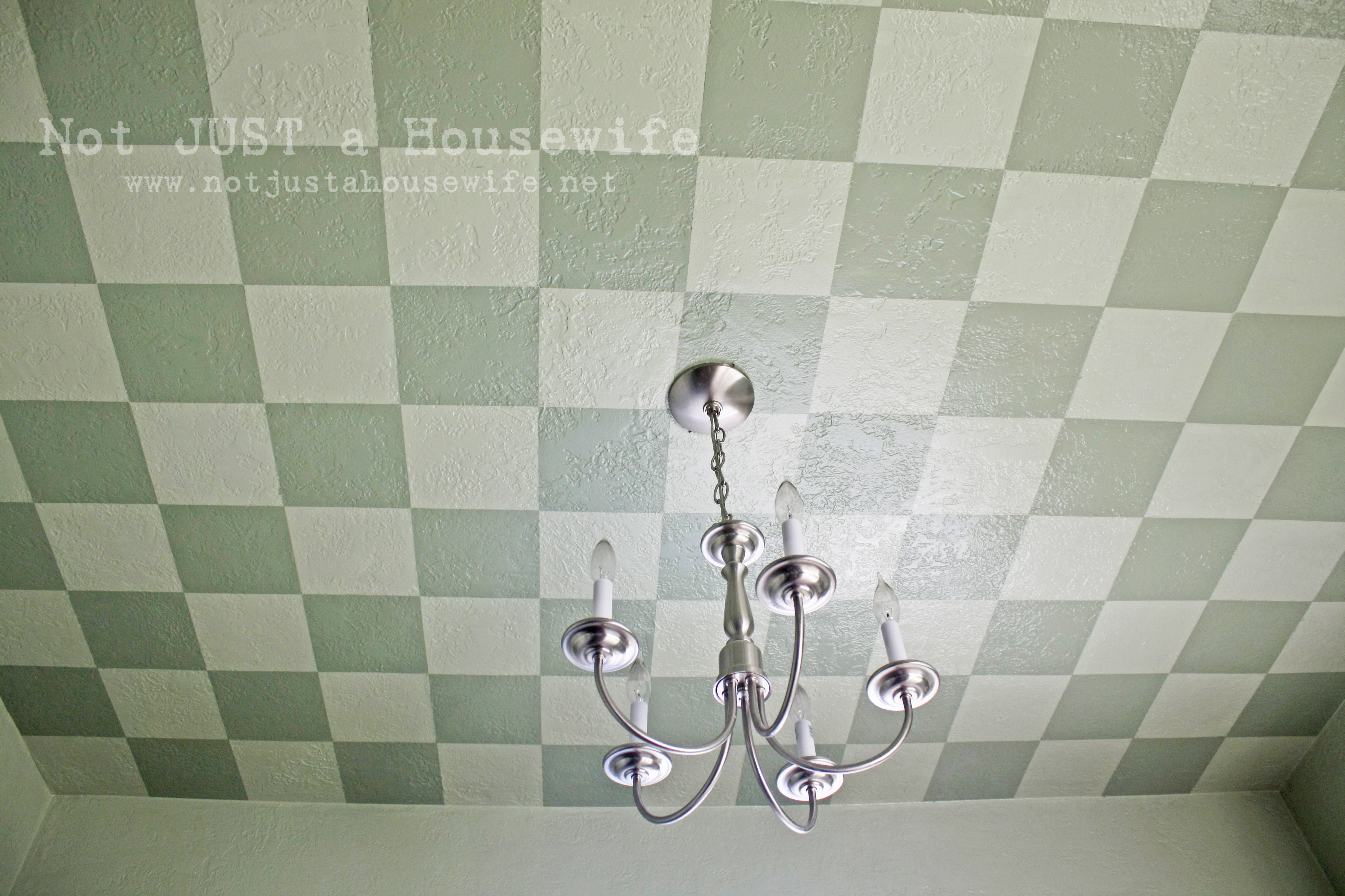 Guest Post Painted Checkered Ceiling Centsational Style