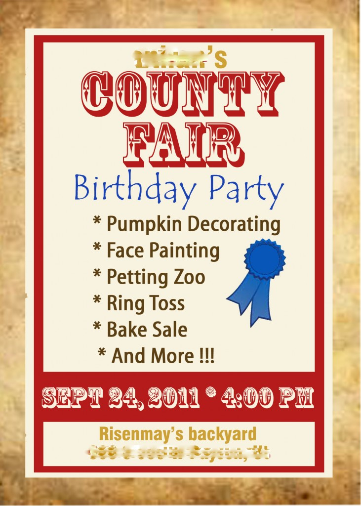 Ethan invitation edited 2 731x1024 County Fair Birthday Party
