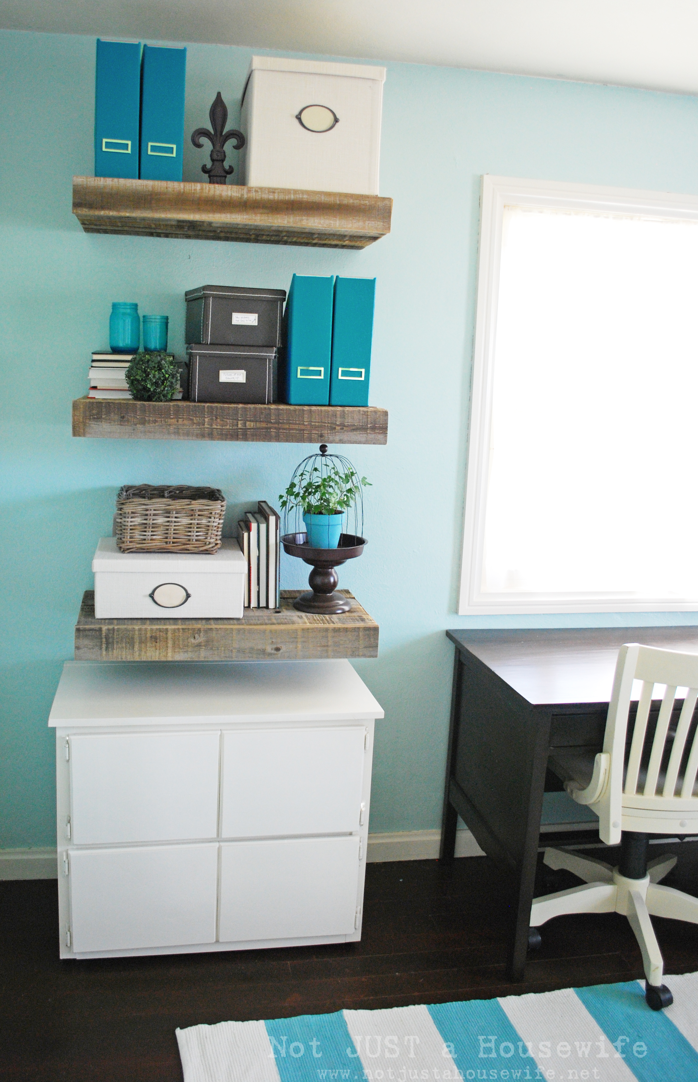 Floating Wood Shelves ~ Reclaimed wood floating shelves not just a housewife