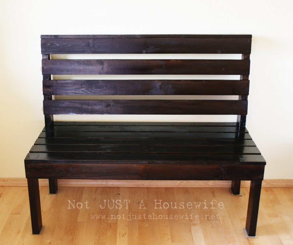 dark brown wood bench