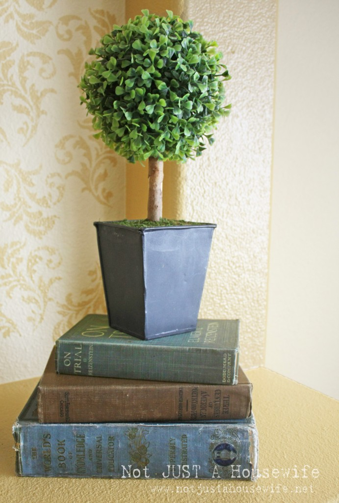 topiary with books 691x1024 Decorating Someone Elses House: Part TWO