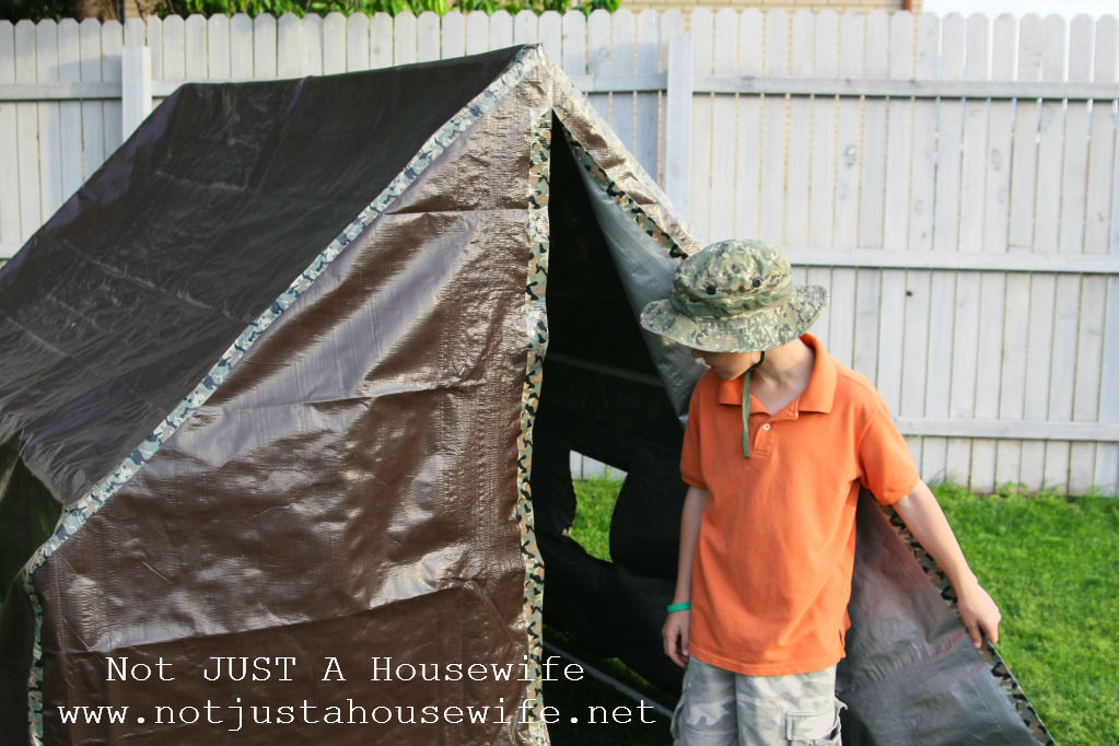 I used duct tape PVC pipe and a tarp. & How to make a play tent | Stacy Risenmay