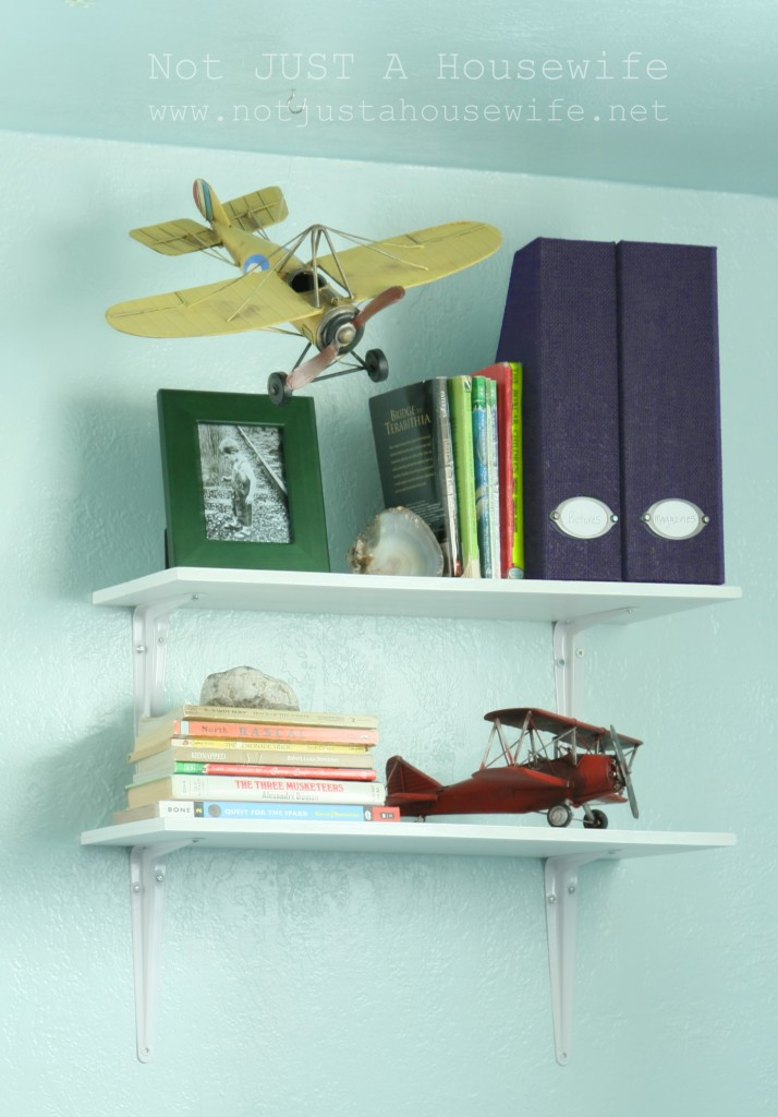boy bedroom airplane shelves 714x1024 An Airplane Bedroom