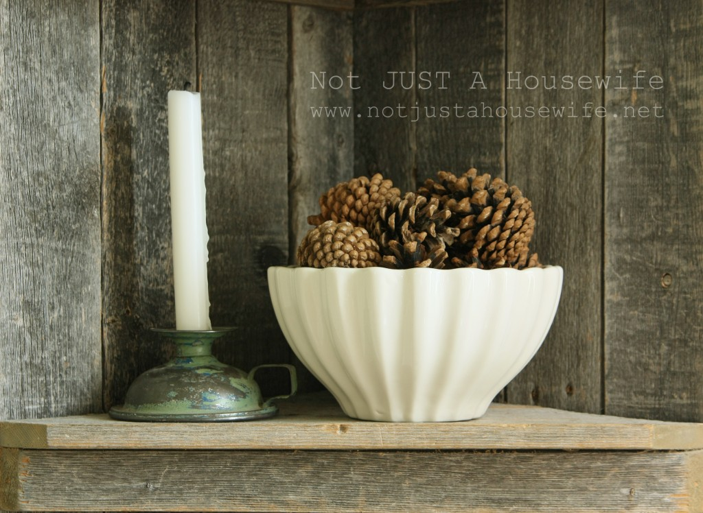 candle stick pine cones 1024x748 Dining Room Update {French Country}