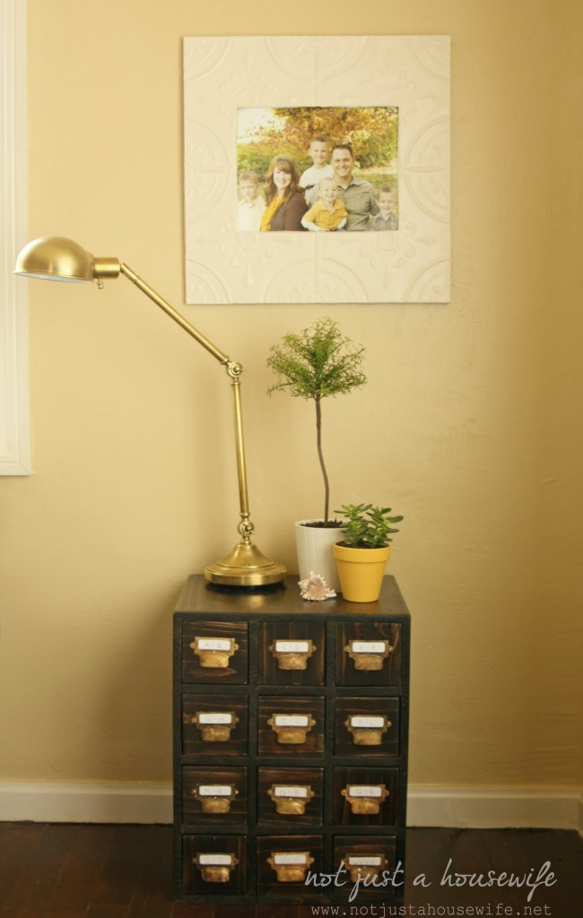 card catalog side table3 650x1024 Cheerful Yellow Family Room {The BIG Reveal!!!!}