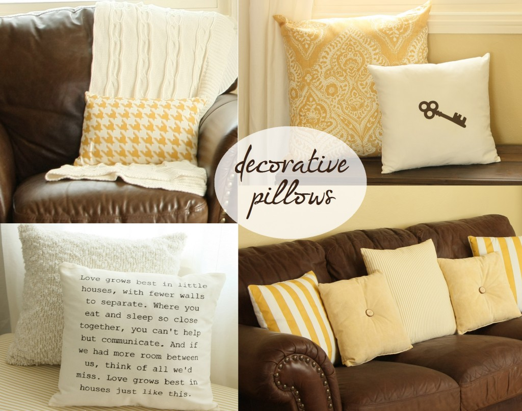 decorative pillow collage 1024x806 Details about all the Pillows in my Family Room :)