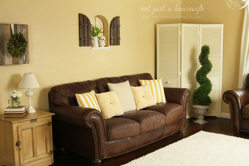 Cheerful yellow family room the big reveal stacy Furniture for yellow living rooms