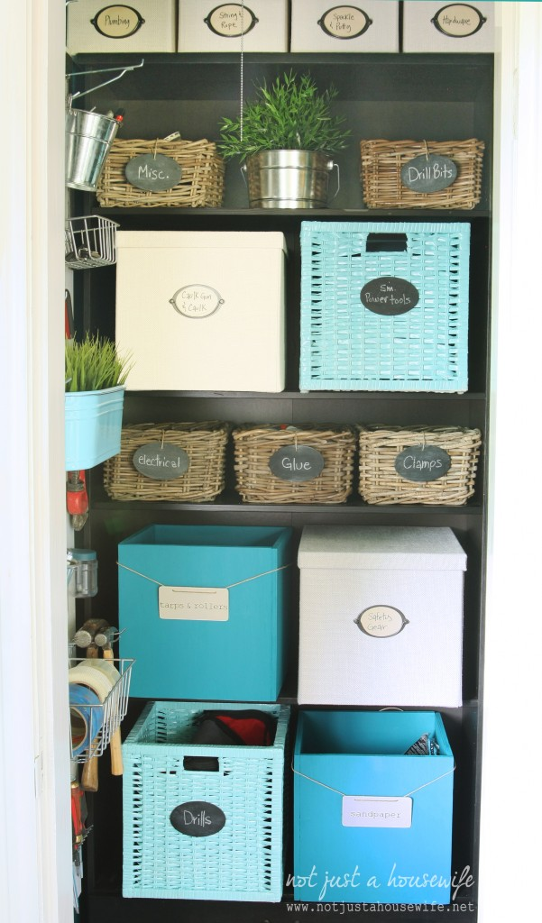 office closet bins2 601x1024 Office Closet Makeover {The Big Reveal!}