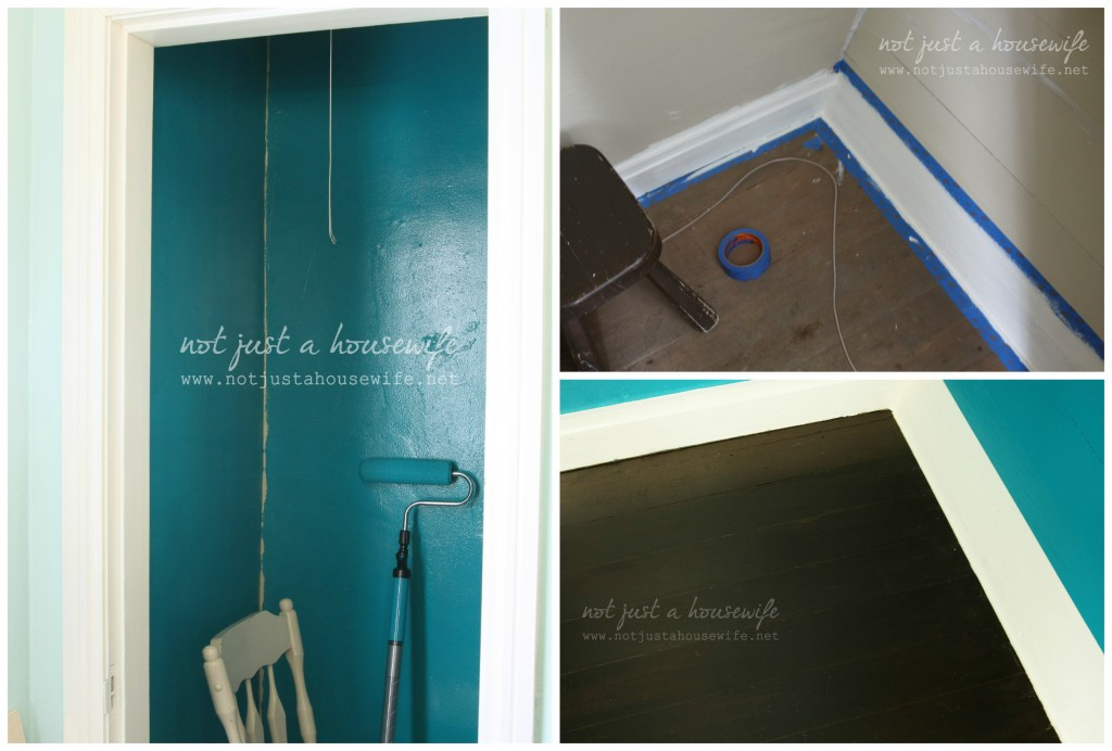 painting and staining closet 1024x692 Office Closet Makeover {The Big Reveal!}