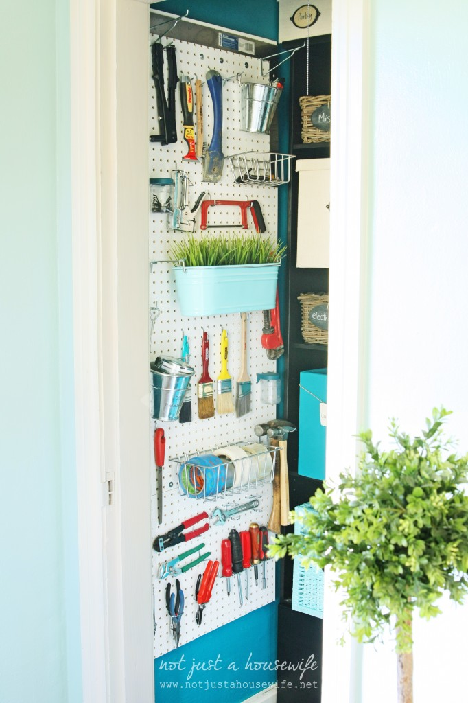 peg board tools 682x1024 Office Closet Makeover {The Big Reveal!}
