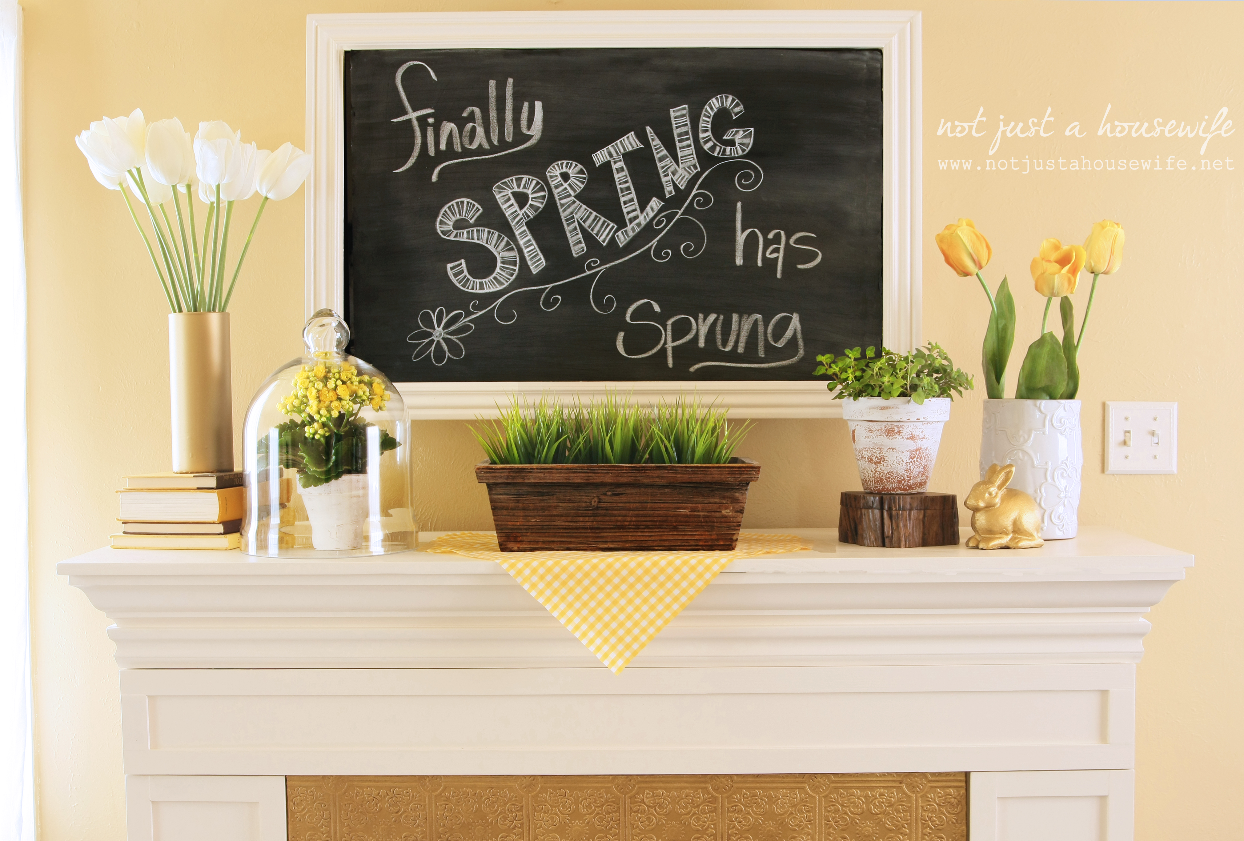 Spring Mantel | Not JUST A Housewife