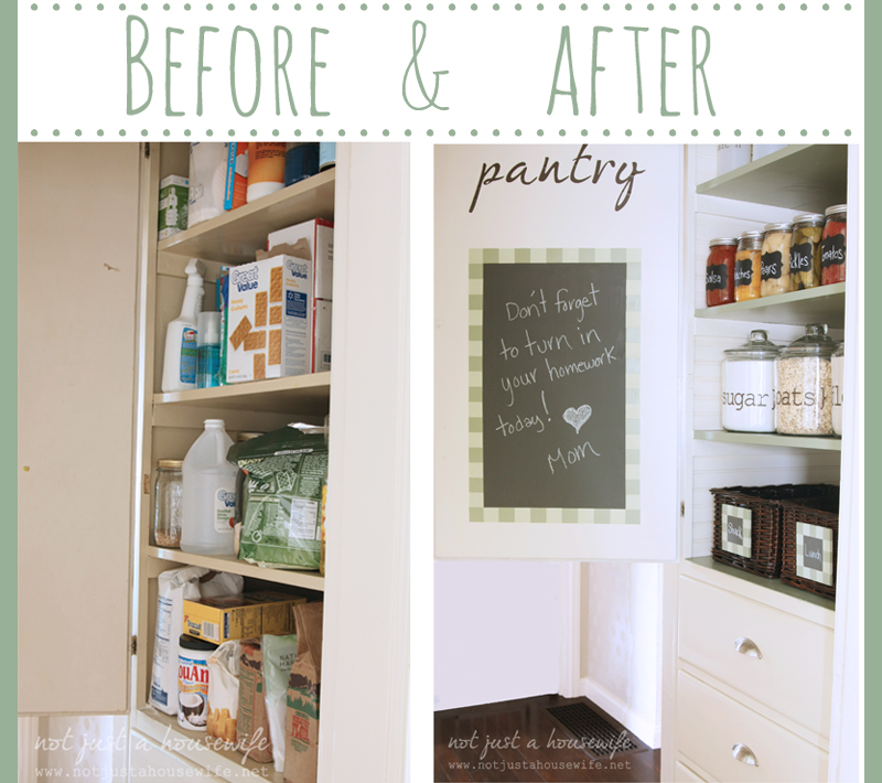 beore after pantry Pantry Makeover!!!