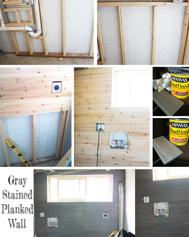 gray stained planked wall Laundry Room Update + $500 Home Depot Gift Card GIVEAWAY!!!