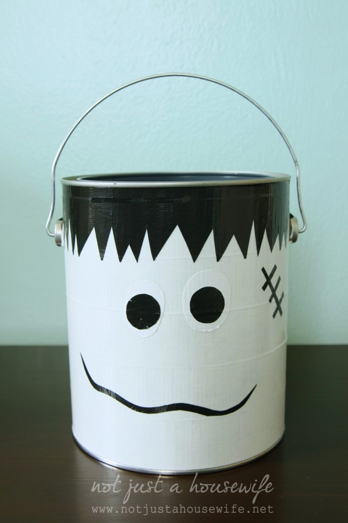 frankenstien trick-or-treat bucket