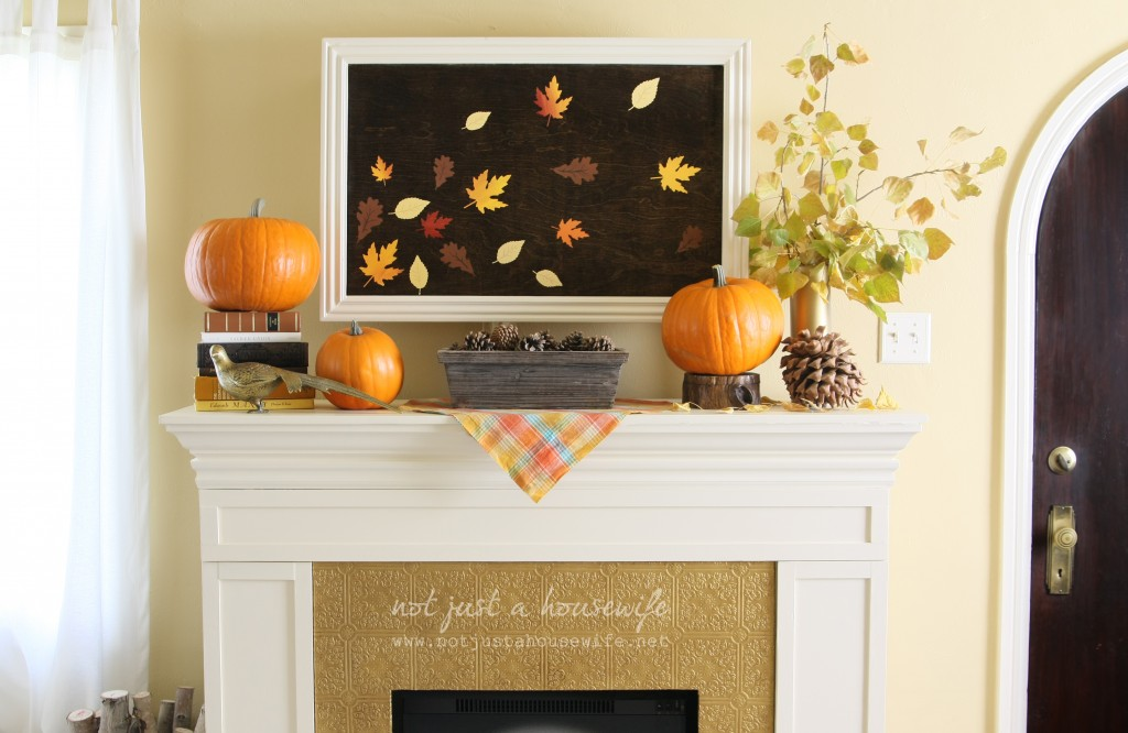 fall mantel 1024x666 Fall Artwork and My Mantel Reveal