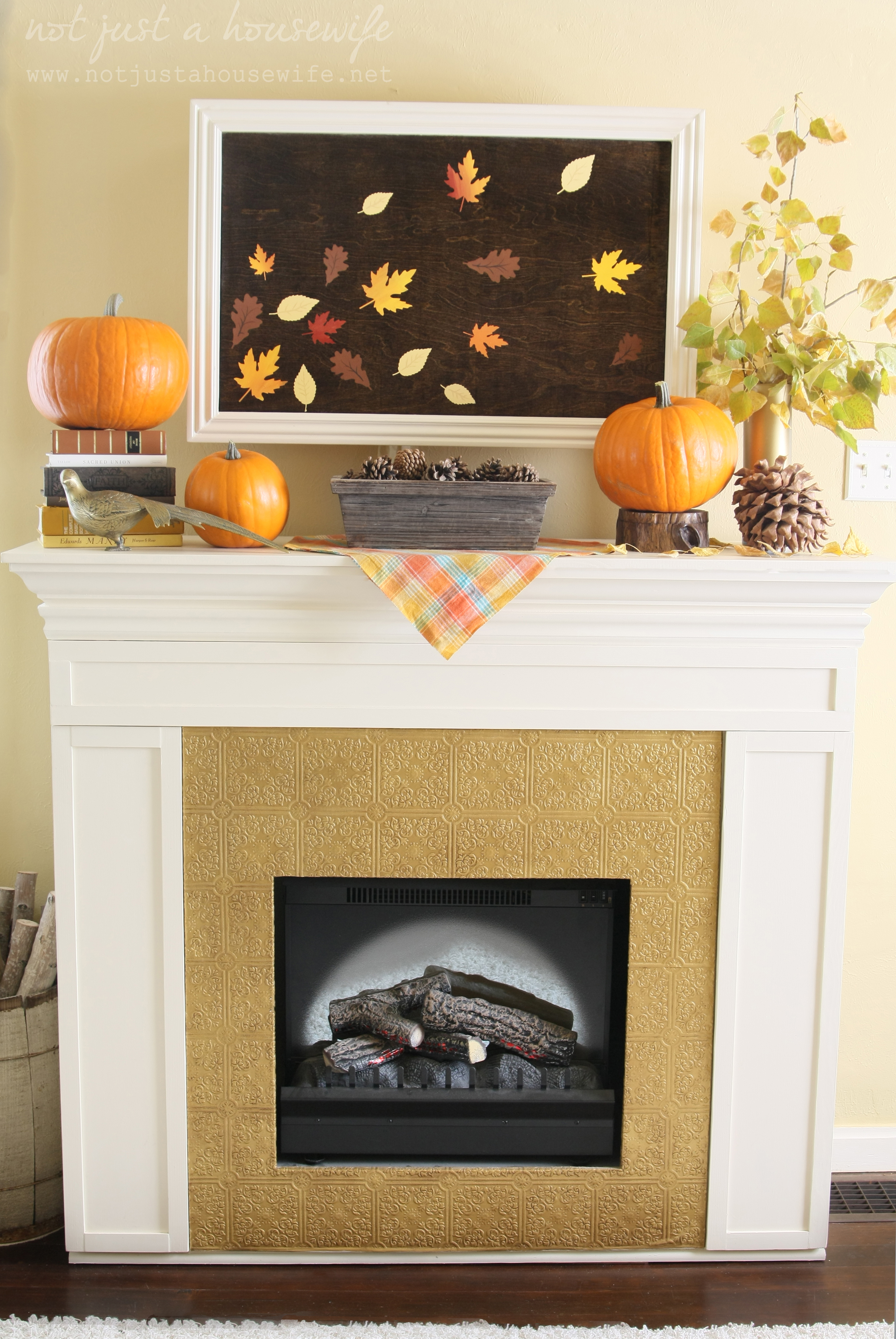 Fall Fireplace Mantel Decorating Ideas: Fall Artwork And My Mantel Reveal