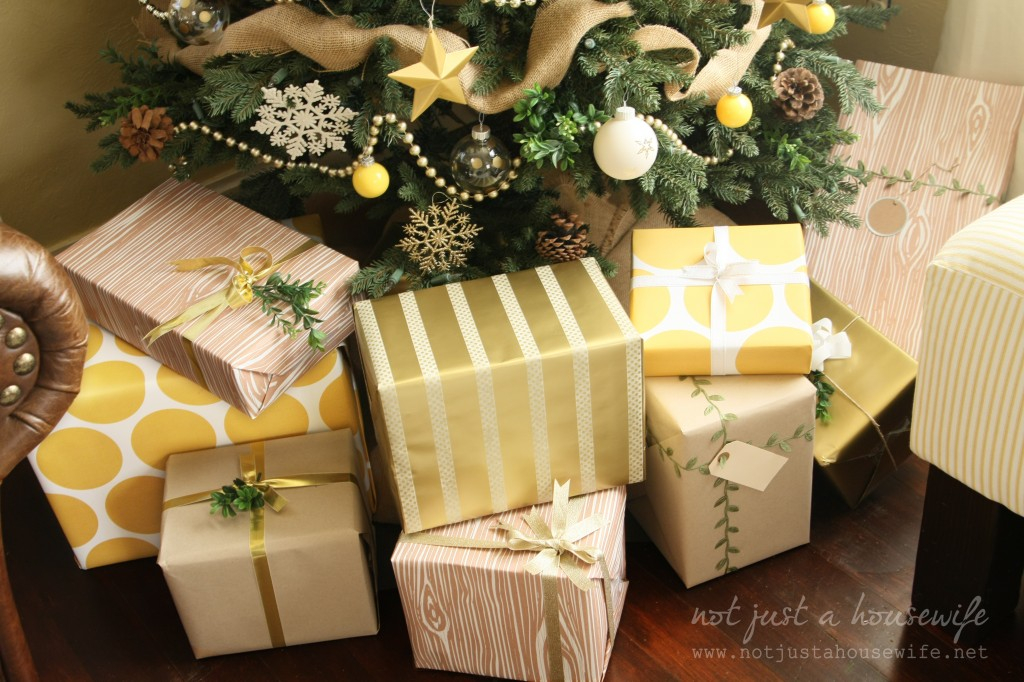 yellow, gold, and natural gift wrap