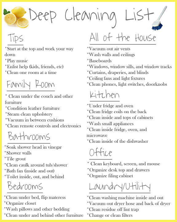 deep cleaning list1 Deep Cleaning Tips & Giveaway!