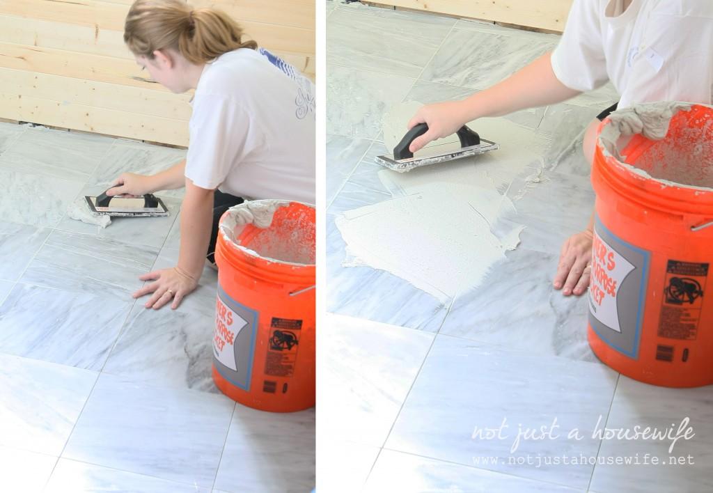 tiling bathroom floor