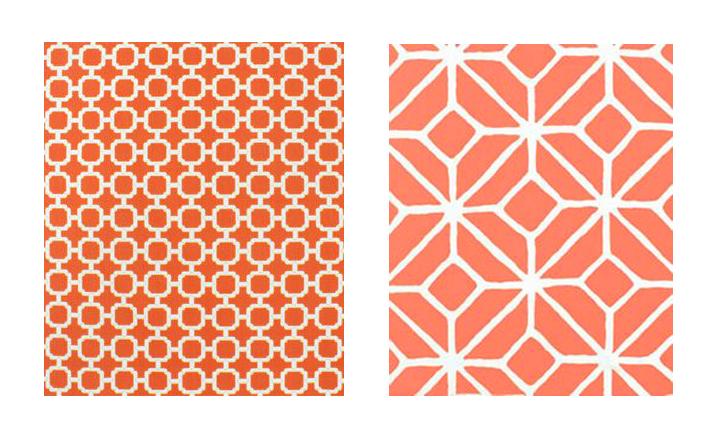 coral geometric fabric