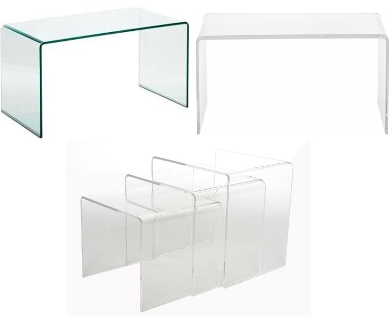lucite and glass tables