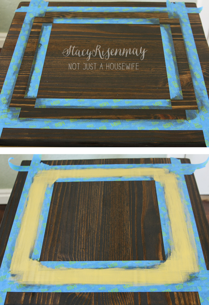 prepping for painting Gold Table {Makeover}