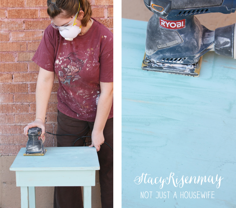 sanding off paint safety Gold Table {Makeover}