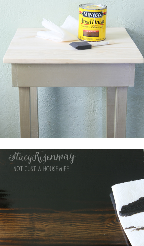 staining pine edited 1 Gold Table {Makeover}