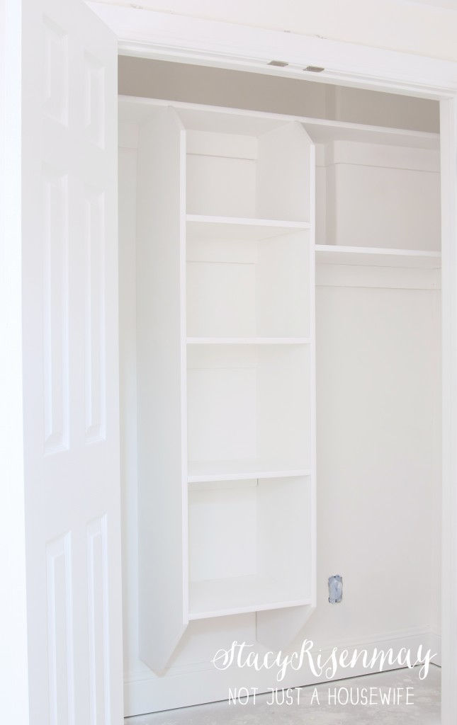 Closet painted with HomeRight Finish Max 645x1024 {Painting a basement} Finish Max Sprayer Giveaway!