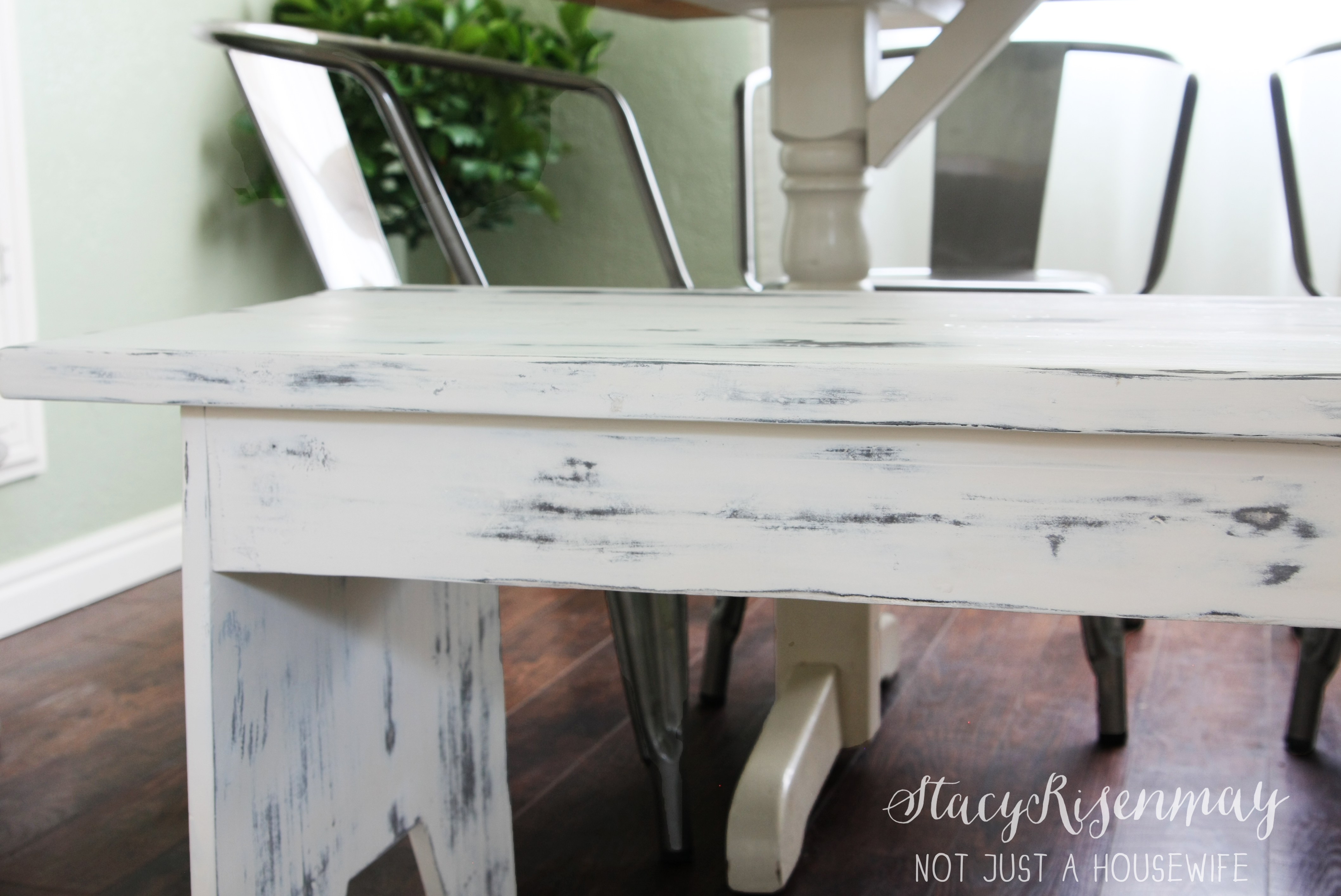 White Distressed Bench Not Just A Housewife