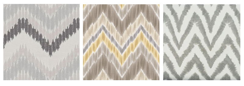 Gray ikat chevron fabric