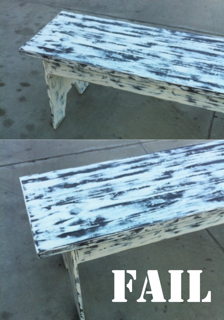 fail 718x1024 White Distressed Bench {That Started Out a Big Fat Fail}
