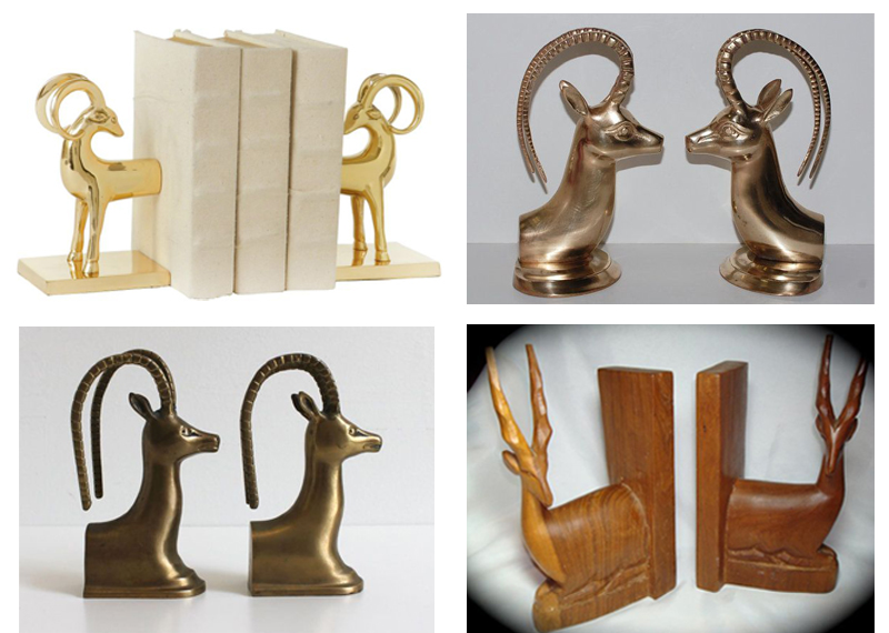 gold antelope book ends