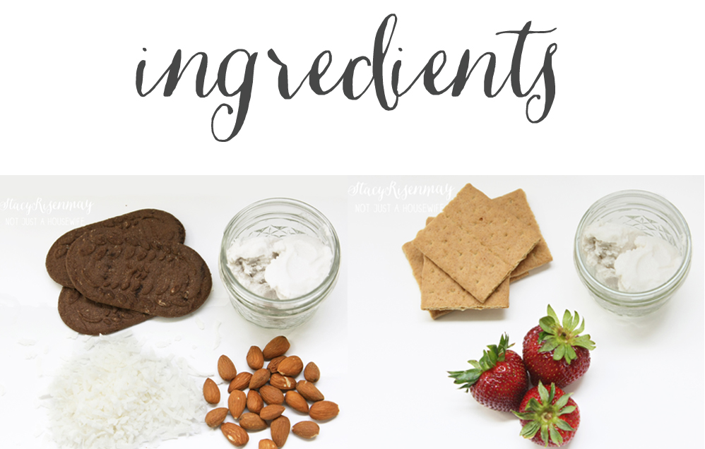 ingredients for Almond Joy Mousse and Strawberry Mousse