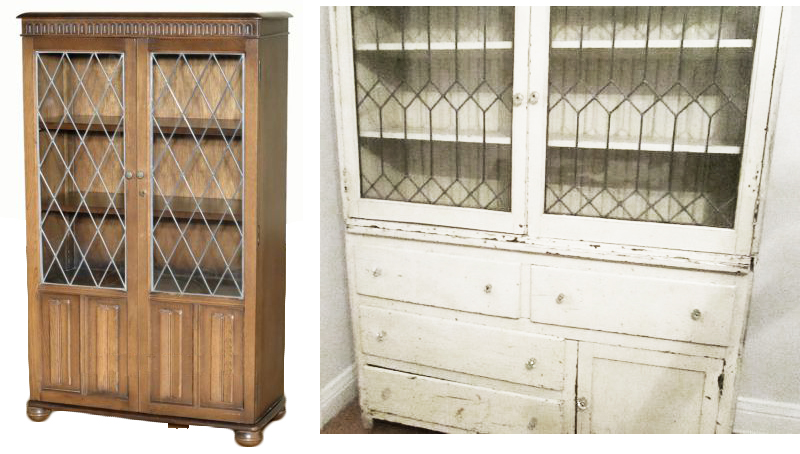 leaded glass hutch
