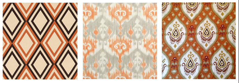 orange and brown curtain fabric