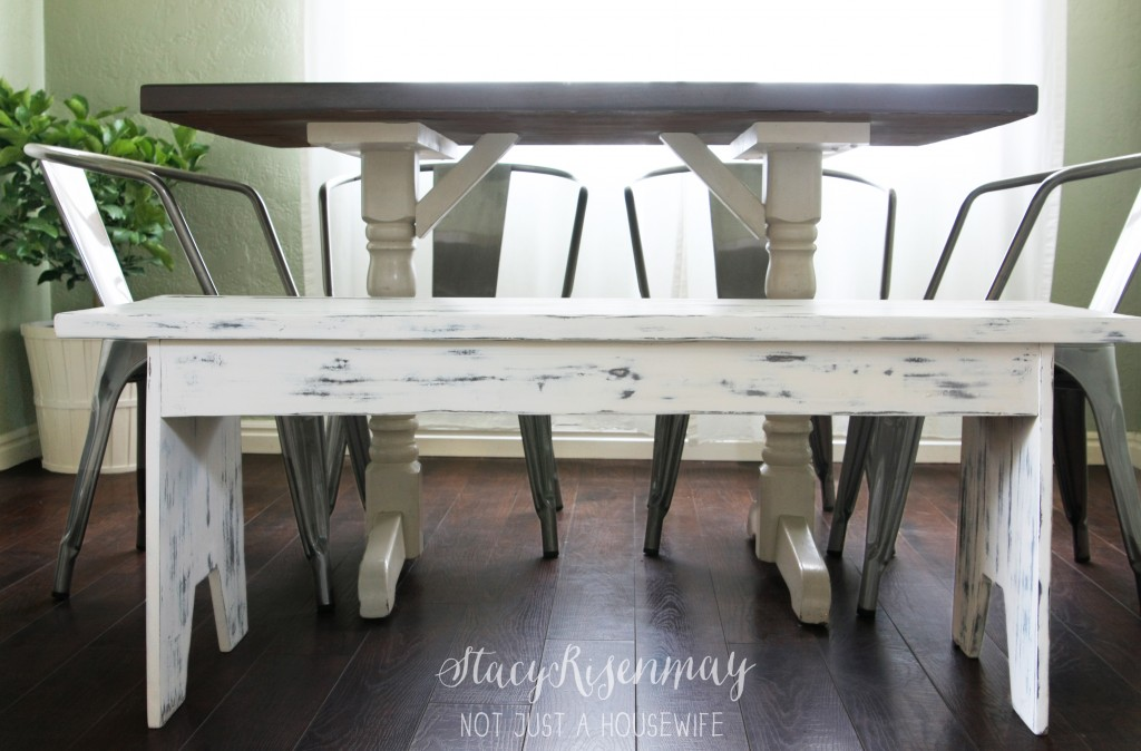 white distressed bench 1024x674 White Distressed Bench {That Started Out a Big Fat Fail}