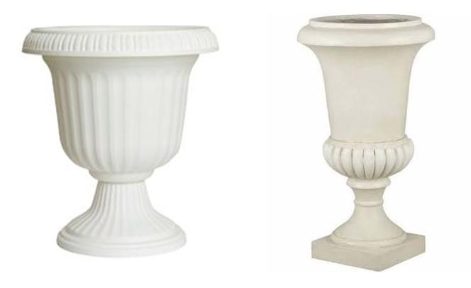 white urn planters