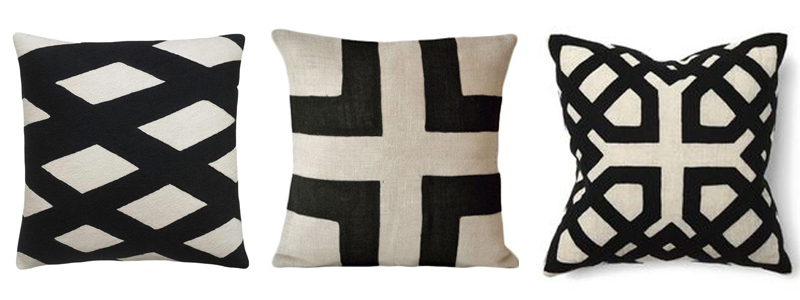 black and cream pillows