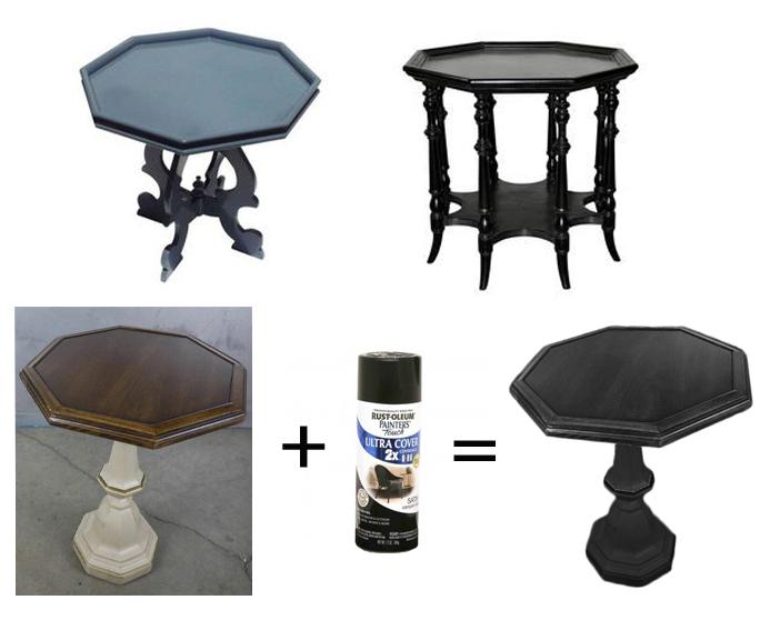 black octagon side tables