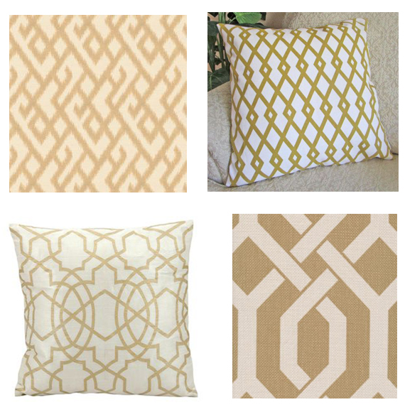 gold lattice pillows