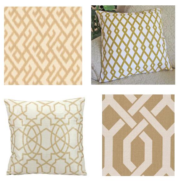 gold lattice pillows