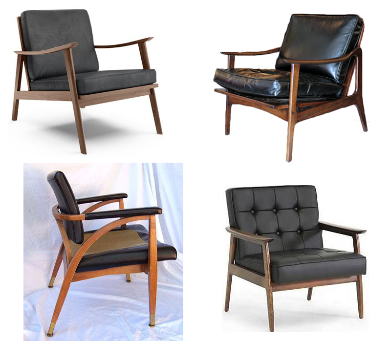 mid century modern black leather chairs