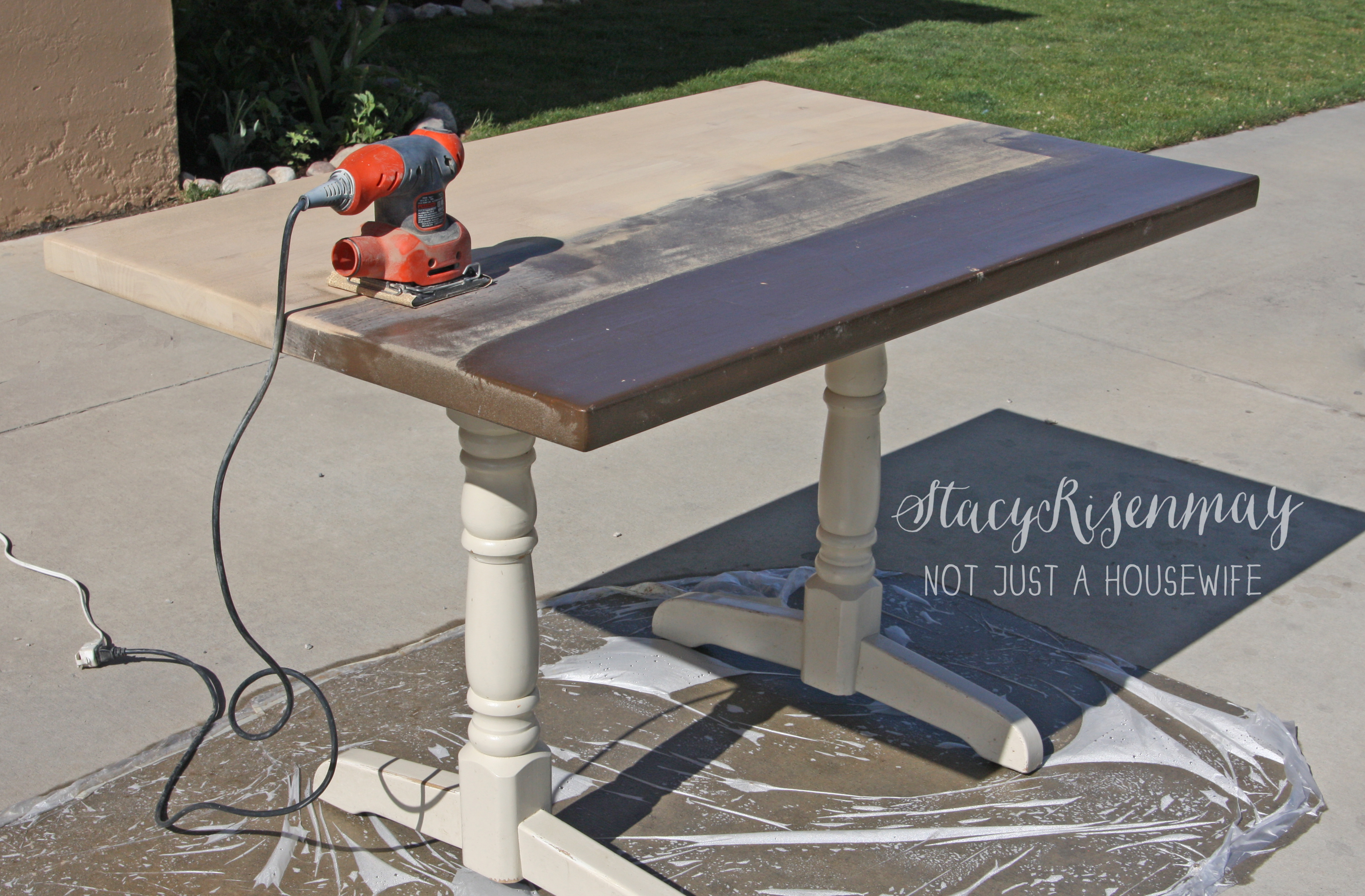 how to refinish a table not just a housewife. Black Bedroom Furniture Sets. Home Design Ideas