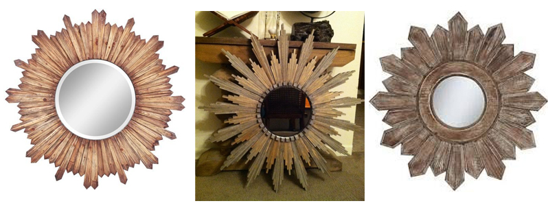wood star burst mirror