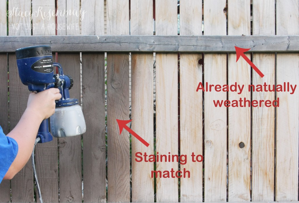 grey stain on fence