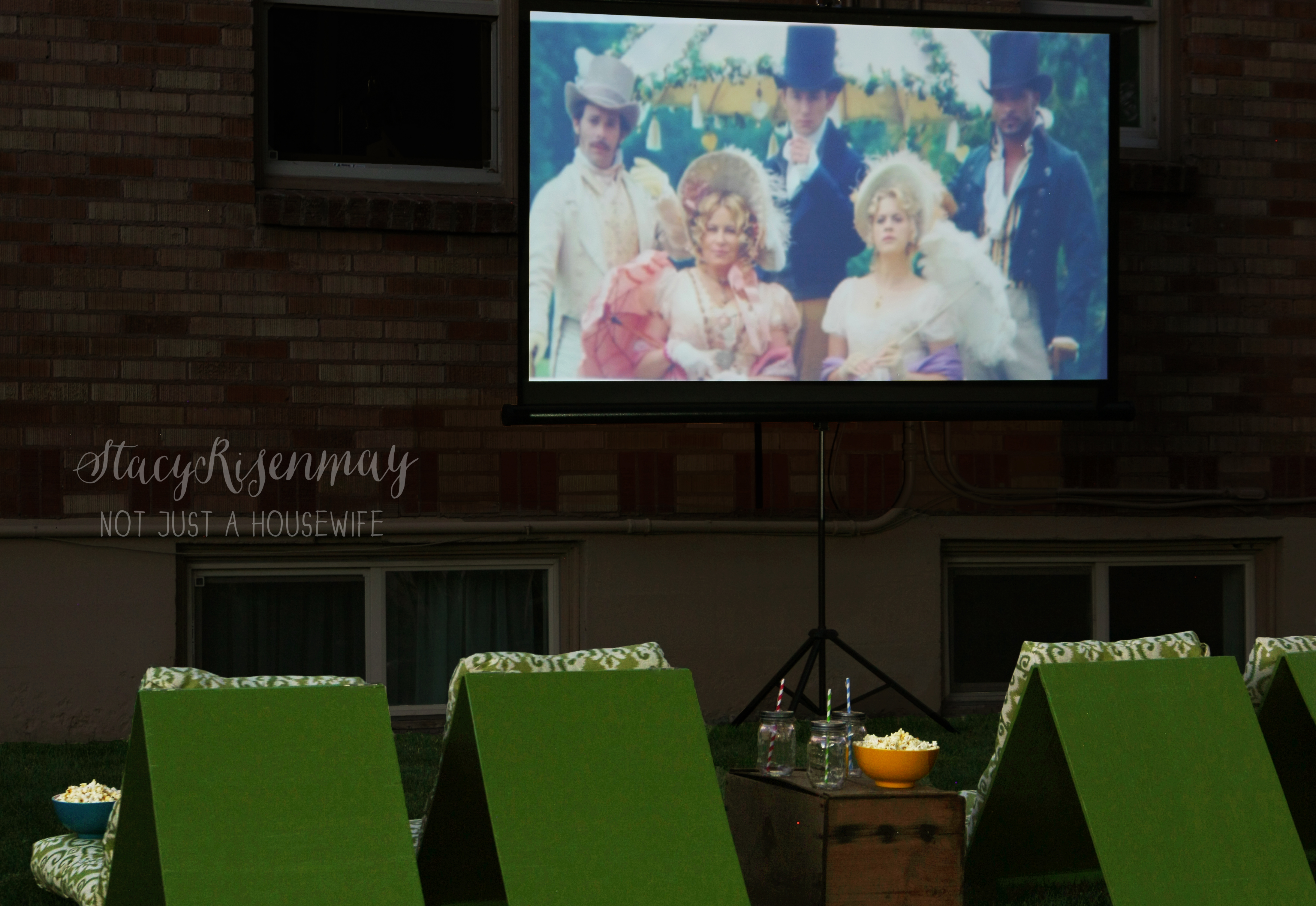Outdoor movie theater seating stacy risenmay for Diy backyard theater seats