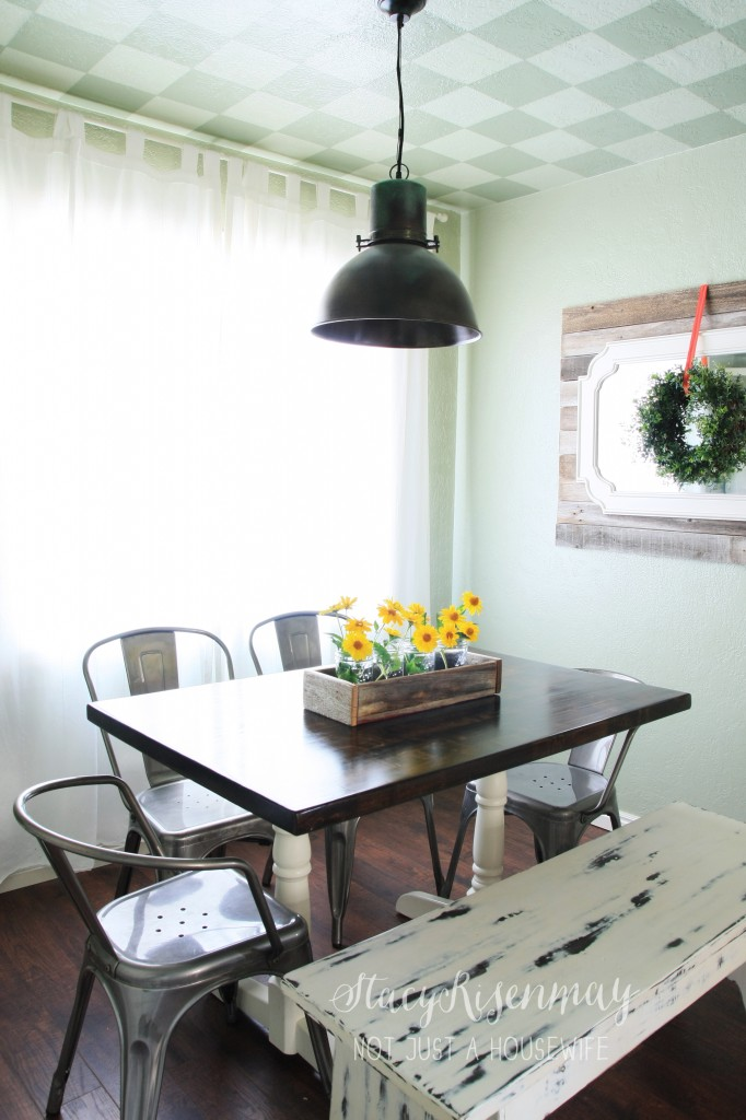 dining room with metal chairs