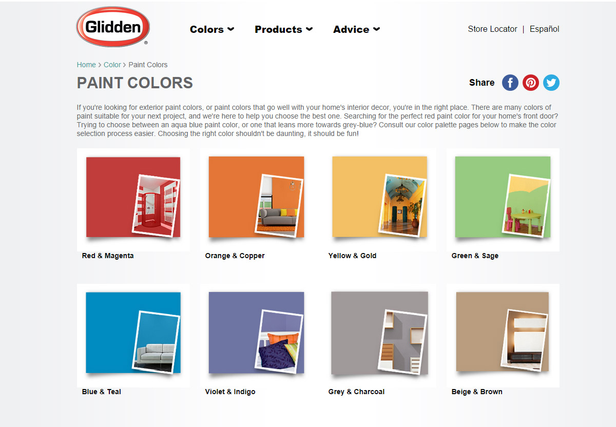 Glidden Interior Paint Color Chart