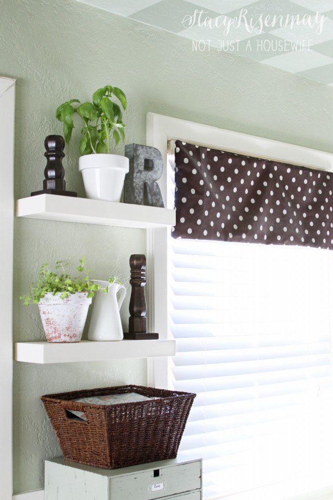 Kitchen floating shelves not just a housewife for Not just kitchen ideas